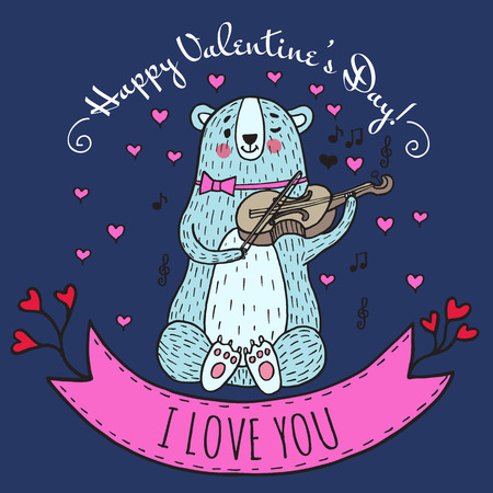 valentine musical note: Greeting card for Valentines Day with teddy bear and violin. Vector Illustrated card. Illustration