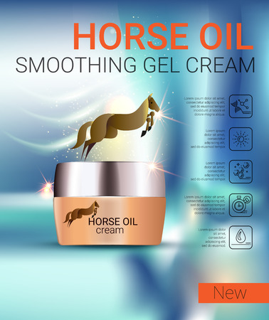 penetrated: Horse Oil Cream ads. Vector Illustration with Manga style girl and horse oil Cream container. Illustration