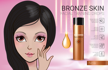 gradual: Tanning facial serum ads. Vector Illustration with Manga style girl and Sun drops bottle.