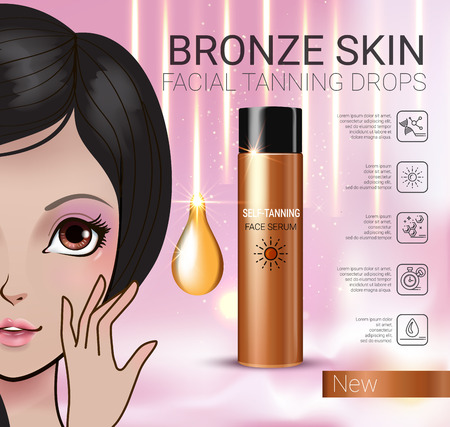 tanning: Tanning facial serum ads. Vector Illustration with Manga style girl and Sun drops bottle.