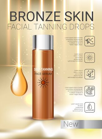 gradual: Tanning facial serum ads. Vector Illustration with self tanning concentrate bottle. Stock Photo