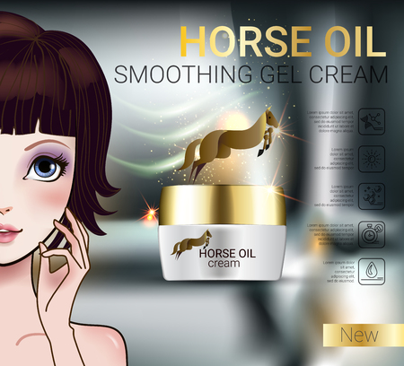penetrated: Horse Oil Cream ads. Vector Illustration with Manga style girl and horse oil Cream container. Stock Photo