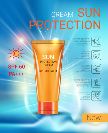 Sun Protection Cream ads. Vector Illustration with sun protection tube. Stock Illustratie