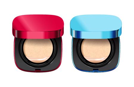 Pulverkissen in verschiedenen Farben von Containern. Vektor-Illustration realistisch Pulver Kissen. Vektorgrafik