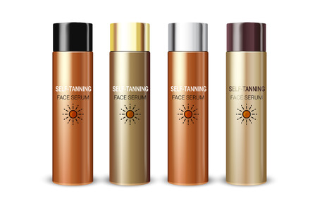 Tanning facial serum in different color of packages. Vector illustration of realistic cream bottles isolated on white background. Illustration