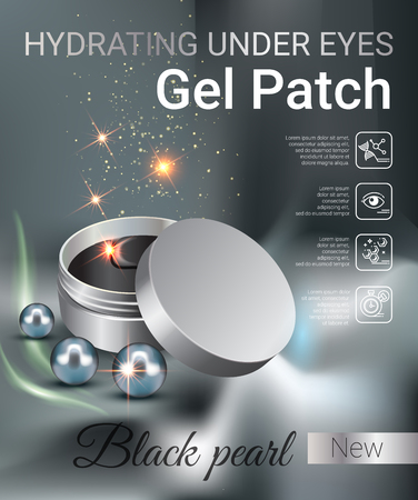 Bajo la hidratación de anuncios de gel para los ojos Parches. Ilustración del vector con el contenedor de parches de gel ojo. Foto de archivo - 69223985