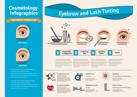 tinting: Vector Illustrated set with salon Brow and Eyelash Tints