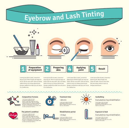 tinting: Vector Illustrated set with salon Brow and Eyelash Tints. Infographics with icons of cosmetic procedures for eyelash. Illustration