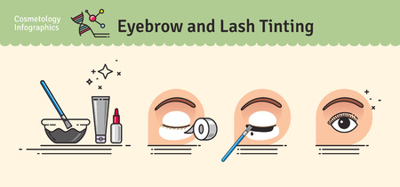 tinting: Vector Illustrated set with salon Brow and Eyelash Tints. Infographics with icons of cosmetic procedures for eyelash. Stock Photo