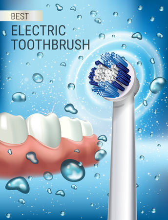 Electric toothbrush ads. Vector 3d Illustration with vibrant brush and Gum and teeth.