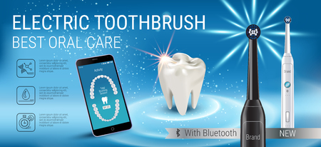 mouth screen: Electric toothbrush ads. Vector 3d Illustration with vibrant brush and mobile dental app on the screen of phone.