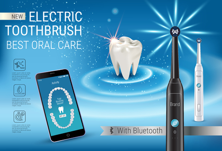 Electric toothbrush ads. Vector 3d Illustration with vibrant brush and mobile dental app on the screen of phone.