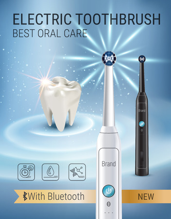 Electric toothbrush ads. Vector 3d Illustration with vibrant brush and tooth. Illustration