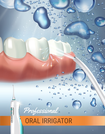 Electric Oral Irrigator ads. Vector 3d Illustration with Portable Water Pick Flosser.