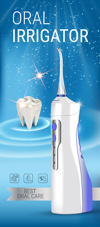 Electric Oral Irrigator ads. Vector 3d Illustration with Portable Water Pick Flosser. Vertical banner with high tech products.