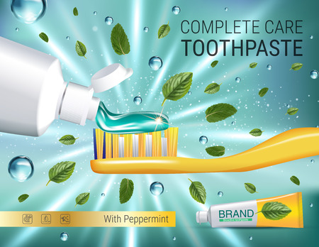 Antibacterial toothpaste ads. Vector 3d Illustration with toothpaste, brush and mind leaves. Poster with product. Imagens - 74298872