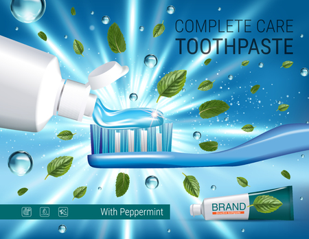 Antibacterial toothpaste ads. Vector 3d Illustration with toothpaste, brush and mind leaves. Poster with product. Illustration