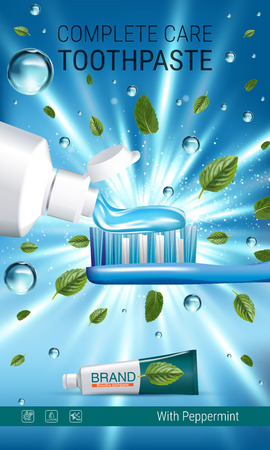 Antibacterial toothpaste ads. Vector 3d Illustration with toothpaste, brush and mind leaves. Vertical banner with product. Illustration