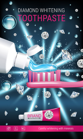 Whitening toothpaste ads. Vector 3d Illustration with toothpaste, brush and diamonds. Vertical banner with product. Illustration
