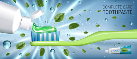 Antibacterial toothpaste ads. Vector 3d Illustration with toothpaste and mind leaves. Horizontal banner with product. Illustration
