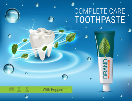 Antibacterial toothpaste ads. Vector 3d Illustration with toothpaste and mind leaves. Poster with product. Vetores