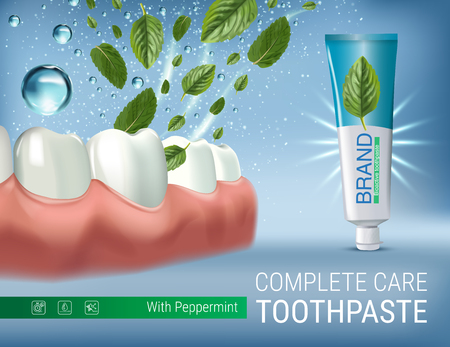Antibacterial toothpaste ads. Vector 3d Illustration with toothpaste and mind leaves. Poster with product. Vectores