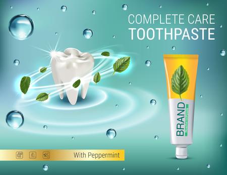 Antibacteriële tandpasta advertenties. Vector 3d illustratie met tandpasta en gedachten bladeren. Poster met product.