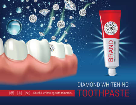 bubble gum: Whitening toothpaste ads. Vector 3d Illustration with toothpaste and dimonds. Poster with product.