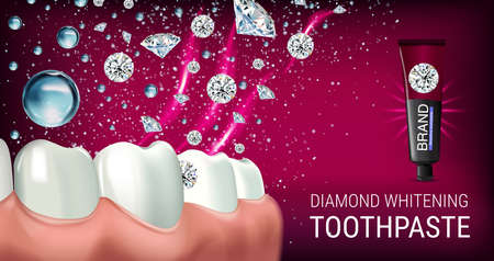 Whitening toothpaste ads. Vector 3d Illustration with toothpaste, brush and diamonds. Horizontal banner with product.