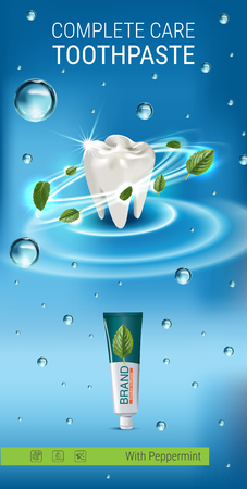 Antibacterial toothpaste ads. Vector 3d Illustration with toothpaste and mind leaves. Vertical banner with product.