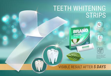 Annonces professionnelles de blanchiment rayures. Vector 3d Illustration avec blanchiment dentaire plus blanc et menthe. Bannière horizontale avec produit.