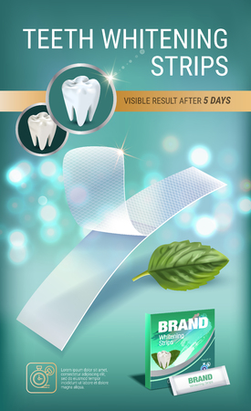 Professional Whitening Stripes ads. Vector 3d Illustration with dental bleaching whiter and mint. Vertical banner with product.