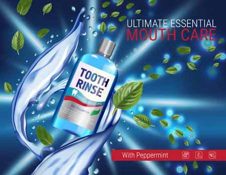 prophylaxis: Mouth rinse ads. Vector 3d Illustration with Mouth rinse in bottle and mints leaves. Poster with product on dark background. Illustration