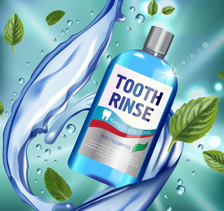 Mouth rinse ads. Vector 3d Illustration with Mouth rinse in bottle and mints leaves. Poster with product on green background.