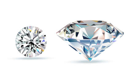 zafiro: Diamond crystals. Vector illustration of realistic brilliance on white background.