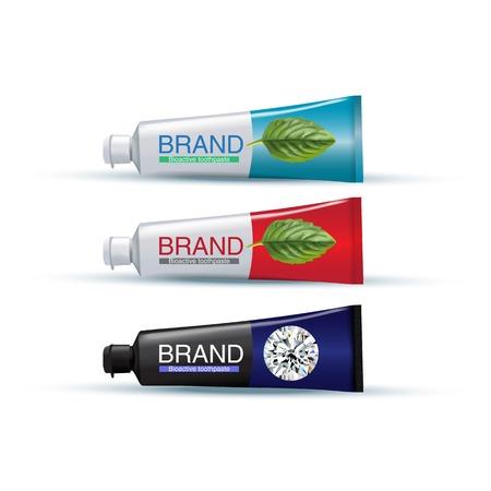 Buis tandpasta in verschillende kleuren. Vectorillustratie van realistische buizen op witte achtergrond. Stock Illustratie