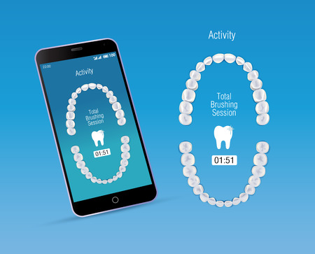 premolar: Oral care app and mobile phone. Vector illustration of realistic chewing surface of teeth upper and lower jaw on the screen of smartphone.