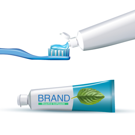 Tube of toothpaste and toothbrush. Vector illustration of realistic white tubes, brush and cream on white background.
