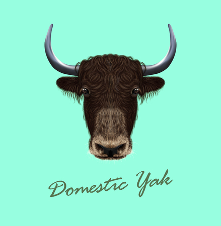 Illustrated portrait of Domestic yak. Cute fluffy brown face of Bovid on blue background. Illustration