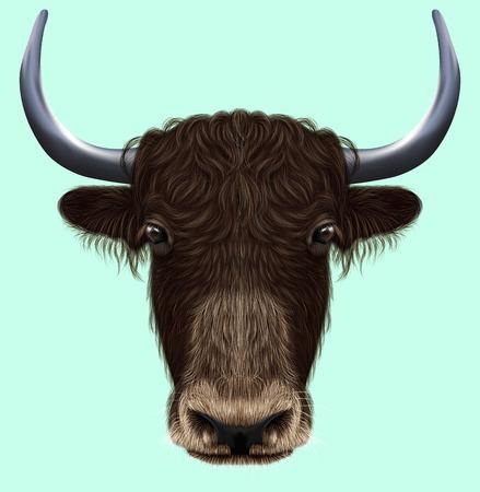 Geïllustreerde portret van binnenlandse yak. Leuk pluizig bruin gezicht van Bovid op blauwe achtergrond. Stockfoto