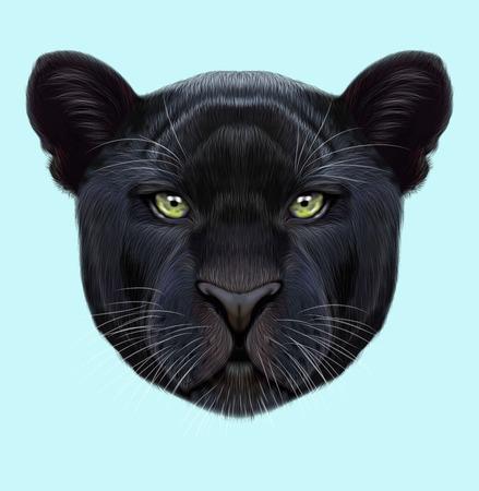 검은 표범의 삽화가 초상화. 귀여운 솜 털 얼굴 파란색 배경에 녹색 눈을 가진 큰 고양이입니다.