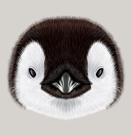 Illustrated portrait of Emperor penguin chick. Cute fluffy face of Bird baby on beige background.