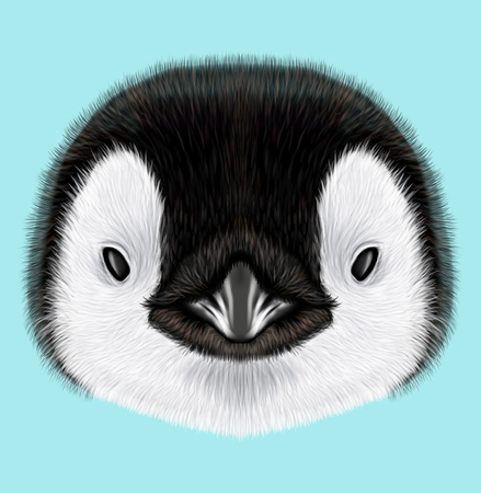 Illustrated portrait of Emperor penguin chick. Cute fluffy face of Bird baby on blue background.