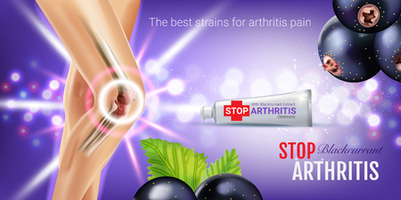 osteoarthritis: Arthritis Pain Relief Ointment ads. Vector 3d Illustration with Tube cream with blackcurrant extract. Horizontal banner with products package. Illustration