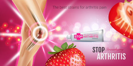 osteoarthritis: Arthritis Pain Relief Ointment ads. Vector 3d Illustration with Tube cream with strawberry extract. Horizontal banner with products package.