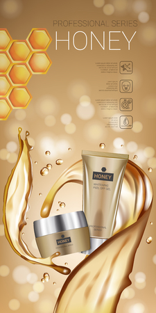 Honey skin care series ads. Vector Illustration with honey smoothing cream tube and container. Vertical banner.