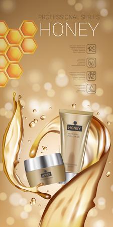 蜂蜜肌ケア シリーズ広告。蜂蜜クリーム チューブとコンテナーのスムージングとベクトル図です。垂直バナー。  イラスト・ベクター素材