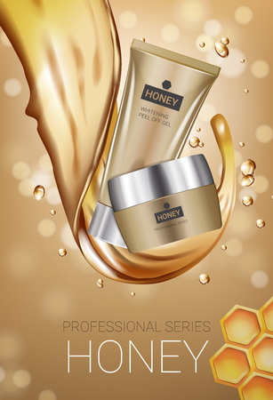 Honey skin care series ads. Vector Illustration with honey smoothing cream tube and container. Vertical poster.