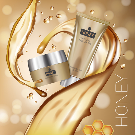 busting: Honey skin care series ads. Vector Illustration with honey smoothing cream tube and container. Poster. Illustration