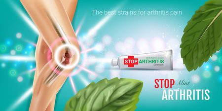 Arthritis Pain Relief Ointment ads. Vector 3d Illustration with Tube cream with peppermint extract. Horizontal with products package.